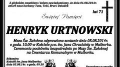 ZMARŁ HENRYK URTNOWSKI. ŻYŁ 71 LAT