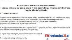 Ogłoszenie przetargu na najem lokalu w celu prowadzenia restauracji w budynku Urzędu Miasta Malborka