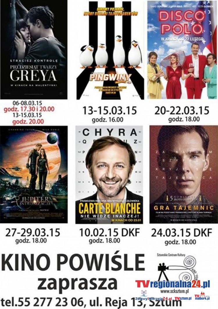 "REPERTUAR SZTUMSKIEGO KINA ""POWIŚLE"" NA MARZEC - 01-31.03.2015"