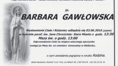 Zmarła Barbara Gawłowska. Żyła 81 lat.