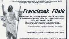 Zmarł Franciszek Flisik. Żył 79 lat.