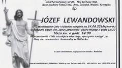 Zmarł Józef Lewandowski. Żył 83 lata.