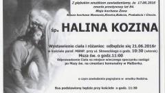Zmarła Halina Kozina. Żyła 84 lata.