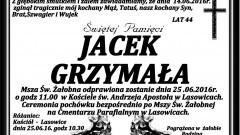 Zmarł Jacek Grzymała. Żył 44 lata.