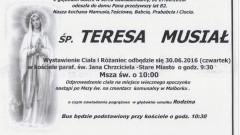 Zmarła Teresa Musiał. Żyła 82 lata.
