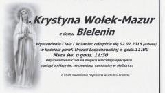 Zmarła Krystyna Wołek-Mazur. Żyła 62 lata.