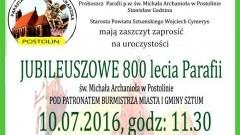 800-lecie parafii w Postolinie. Będzie pamiątkowa tablica, wykłady i festyn z koncertami – 10.07.2016