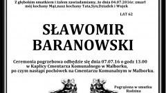 Zmarł Sławomir Baranowski. Żył 62 lata.