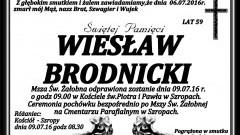 Zmarł Wiesław Brodnicki. Żył 59 lat.
