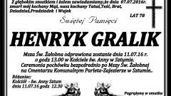 Zmarł Henryk Gralik. Żył 78 lat.