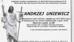 Zmarł Andrzej Uniewicz. Żył 70 lat