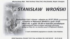 Zmarł Stanisław Wroński. Żył 68 lat
