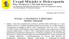 Wyciąg z ogłoszenia o przetargu na zakup nieruchomości na Placu Wolności w Dzierzgoniu – 20.07.2016