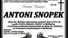 Zmarł Antoni Snopek. Żył 85 lat