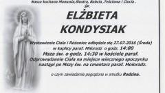 Zmarła Elżbieta Kondysiak. Żyła 58 lat