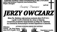 Zmarł Jerzy Owczarz. Żył 65 lat