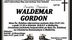 Zmarł Waldemar Gordon. Żył 64 lata