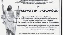 Zmarł Stanisław Staszyński. Żył 67 lat