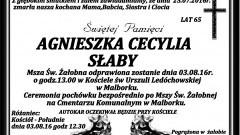 Zmarła Agnieszka Cecylia Słaby. Żyła 65 lat.