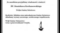 Wyrazy szczerego, serdecznego współczucia z powodu śmierći Wójta Stanisława Kochanowskiego - 01.08.2016