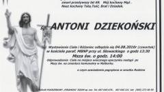 Zmarł Antoni Dziekoński. Żył 69 lat.