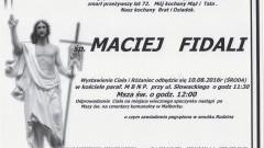 Zmarł Maciej Fidali. Żył 72 lata.