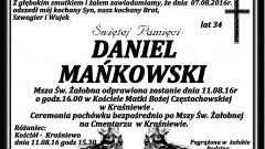 Zmarł Daniel Mańkowski. Żył 34 lata.