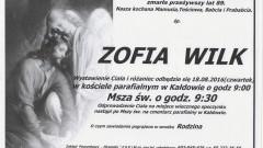 Zmarła Zofia Wilk. Żyła 89 lat.