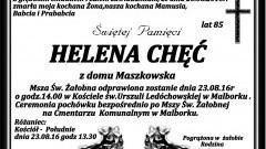 Zmarła Helena Chęć. Żyła 85 lat.