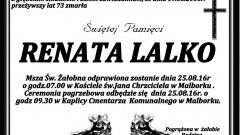 Zmarła Renata Lalko. Żyła 73 lata.