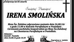 Zmarła Irena Smolińska, Żyła 85 lat.