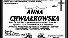 Zmarła Anna Chwiałkowska. Żyła 84 lata.