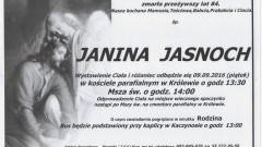 Zmarła Janina Jasnoch. Żyła 84 lata.