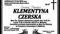 Zmarła Klementyna Czerska. Żyła 91 lat.