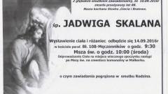 Zmarła Jadwiga Skalana. Żyła 88 lat.