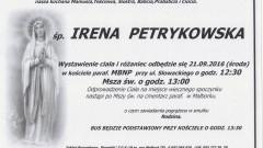 Zmarła Irena Petrykowska. Żyła 83 lata.