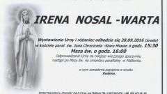 Zmarła Irena Nosal-Warta. Żyła 88 lat.