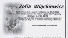 Zmarła Zofia Wiąckiewicz. Żyła 81 lat.