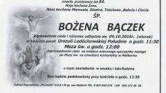 Zmarła Bożena Bączek. Żyła 64 lata.
