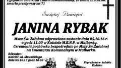 Zmarła Janina Rybak. Żyła 71 lat.