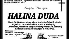 Zmarła Halina Duda. Żyła 69 lat.