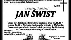 Zmarł Jan Świst. Żył 75 lat.