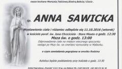 Zmarła Anna Sawicka. Żyła 73 lata.