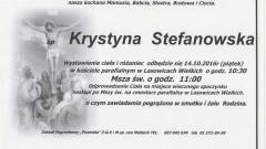 Zmarła Krystyna Stefanowska. Żyła 86 lat.