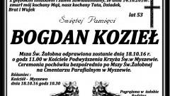 Zmarł Bogdan Kozieł. Żył 53 lata.