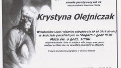 Zmarła Krystyna Olejniczak. Żyła 49 lat.