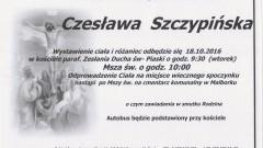 Zmarła Czesława Szczypińska. Żyła 90 lat.