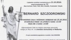 Zmarł Bernard Szczodrowski. Żył 72 lat.
