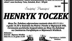 Zmarł Henryk Toczek. Żył 66 lat.