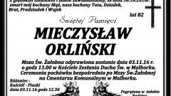 Zmarł Mieczysław Orliński. Żył 82 lat.
